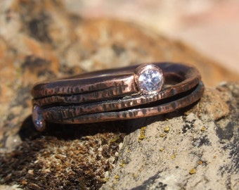 Hand Forged Copper Ring With Cubic Zirconia Stones