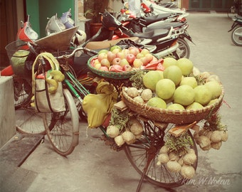 Bicycle Art, Bicycle photo, Fruit bike, Bicycle with fruit, Bike art, Bike photo, Fruit seller's bike in Vietnam, gifts for bike lovers