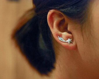 Shooting Star Sterling Silver Ear Climbers