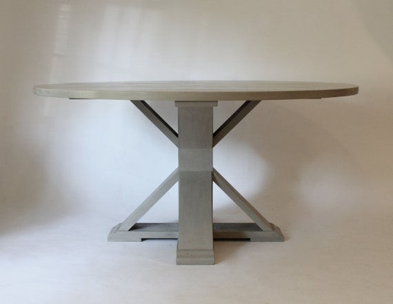 trestle round gray dining table 60 by lmfurniture on etsy