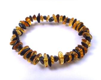 Fine Baltic Amber Bracelet Honey CherryVarious Shape Beads Adjustable