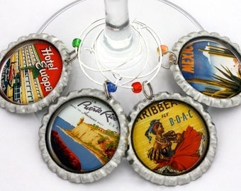 Mexico Costa Rica Caribbean travel party favors vintage travel wine charms drink tags.