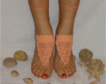 Crochet  Barefoot sandals Peach Barefoot Sandals  Footless sandals