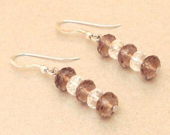 Silver earrings smoky quartz crystal