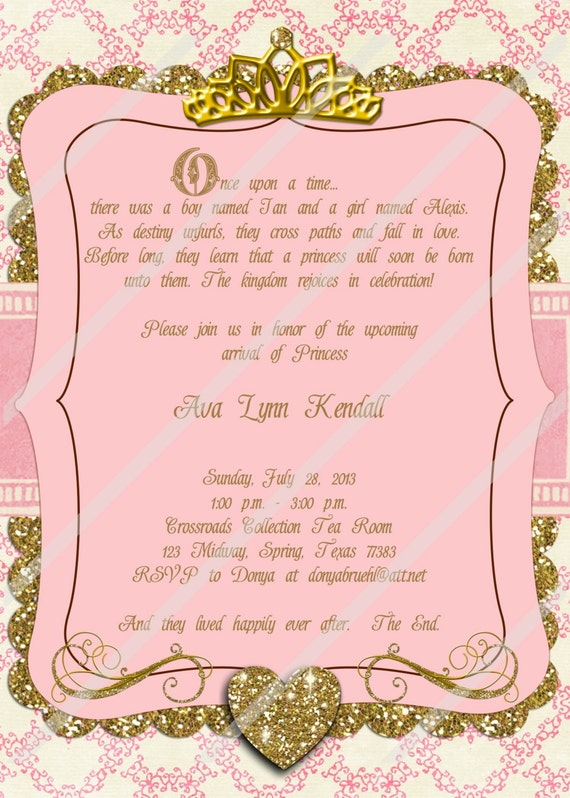 once upon a time princess baby shower custom personalized invitation