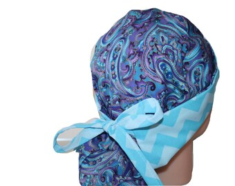 Surgical Scrub Hat Scrub Cap Flirty Front Fold Ponytail scrub hat Tie Back Purple Blue Lilac Paisley Chevron -  2nd Item Ships FREE