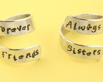 Always Sisters and Forever Friends Ring Set - Best Friends - Lil Sis - Big Sis - Adjustable Twist Wrap Aluminum Rings - Handstamped Rings