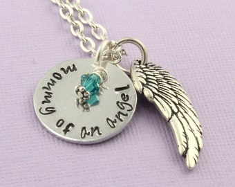 Mommy of an Angel Necklace - Memorial Necklace - Personalized Necklace - Angel Baby Necklace - Angel Wing Necklace - Custom Necklace