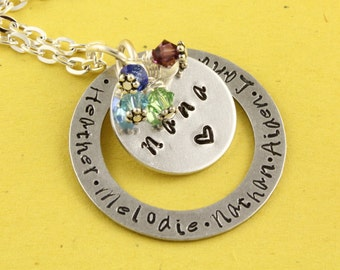 Nana Necklace - Birthstone Necklace - Personalized Necklace-Grandmother Necklace-Silver Necklace -Custom Gift for Grandma - Birth Stone Gift