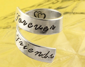 SALE - Forever Friends Wrap Twist Ring - Best Friends Ring - Adjustable Aluminum Ring - Hand Stamped Ring - Sizes 5, 6, 7, 8, 9, 10, 11, 12+