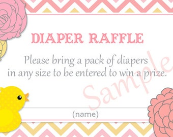 Modern Pink Rubber Duck Baby Shower Diaper Raffle Tickets - Printable File