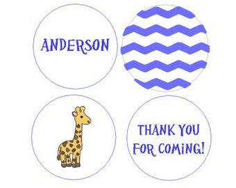 Giraffe Zoo Baby Shower Party Favors Chevron Candy Wrappers Labels Blue