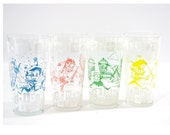 RESERVED FOR BRITT Vintage Kids Drinking Glass Set, Hazel Atlas Fantasy Glasses, Spaceman, Pirate, Indian, Viking
