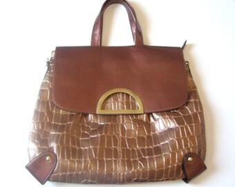 Gold bronze handbag vintage / woman handbag large