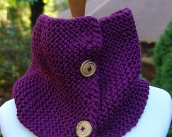 READY TO SHIP: Knit Button Cowl Neck Warmer Scarf in Purple #EtsyGifts