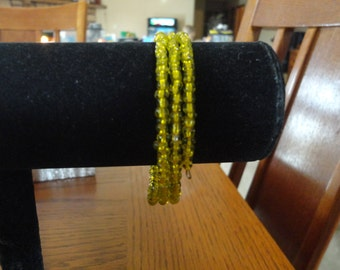 Memory Wire Bracelet-Yellow Glass Seed Beads