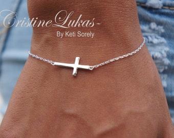 Sideways Cross Bracelet or Anklet - Celebrity Style Small Cross - Horizontal Cross Bracelet - White Gold, Yellow Gold or Rose Gold