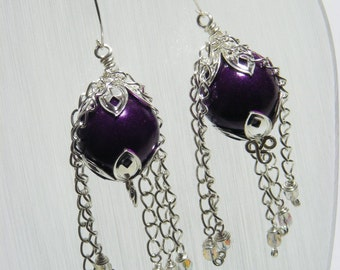 Purple and Silver Chain Earrings