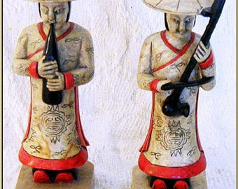 Hand Carved Marble Musicians from Vietnam