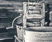 laundry room decor, hand-crank ringer, antique washing system, vintage washer image