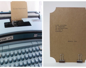 ANAIS NIN Quote Card-- Typed on Vintage Typewriter -- Inspirational Poetry Letterpress Typography