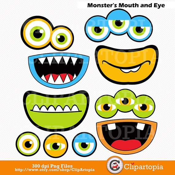 monsters mouth and eyes digital clipart little monster party rh etsy com monster eyeballs clipart monster with no eyes clipart