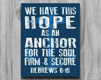 Religious Gifts Hebrews 6 19 Anchor Wall Art Print Poster Modern Word Art Scripture Rustic Nautical Bible Verse Hope