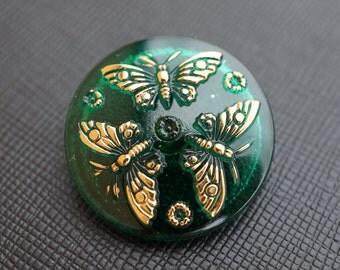 Hand Made Art Czech Glass Buttons with Butterflies Emerald-Gold, size 12, 27mm 1 pcs (BUT113/12)