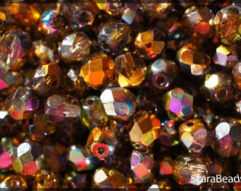 50pcs Czech Fire-Polished Faceted Glass Beads Round 6mm Magic Orange-Grey (6FP015)