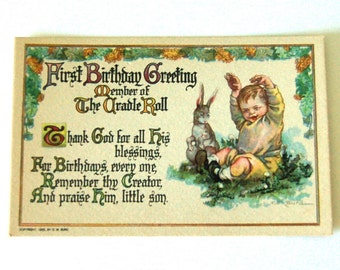 Vintage 1st Birthday Post Card with Bunny
