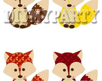 Printable party decor foxes Clip Art foxes clipart holiday decoration favor tags pdf file digital scrapbooking diy birthday party (495)