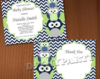 Owl Baby Shower Invitation Boy Baby Shower invitations Printable Baby Shower Invites -FREE Thank You Card - editable pdf Download (538) blue