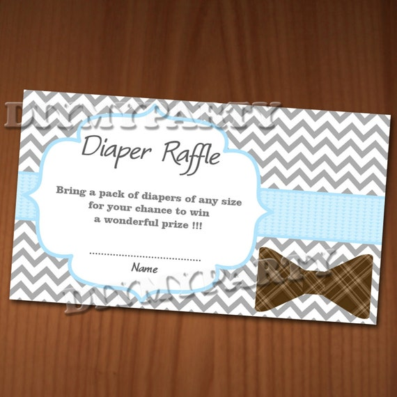 Diaper Raffle Ticket Clip Art Bow tie baby shower diaper raffle ticket ...