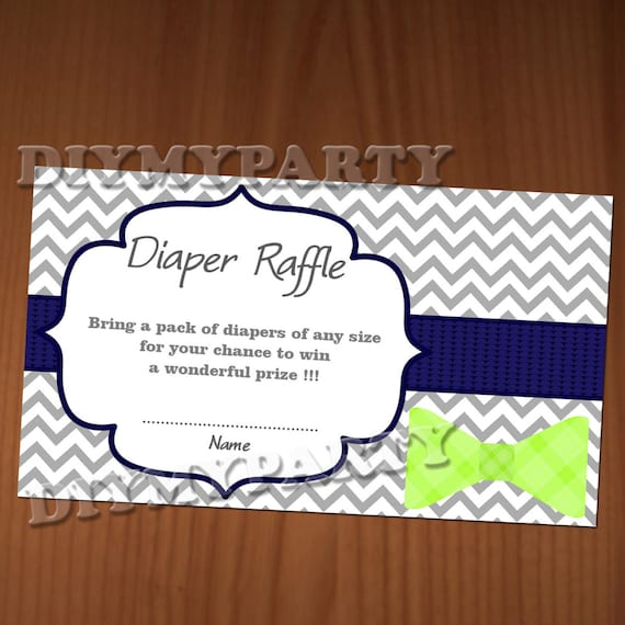 Bow Tie Baby Shower Diaper Raffle Ticket Diaper Wipe Raffle Card Diapers  Raffles Baby Shower Games Printable Digital Files Printable Decor
