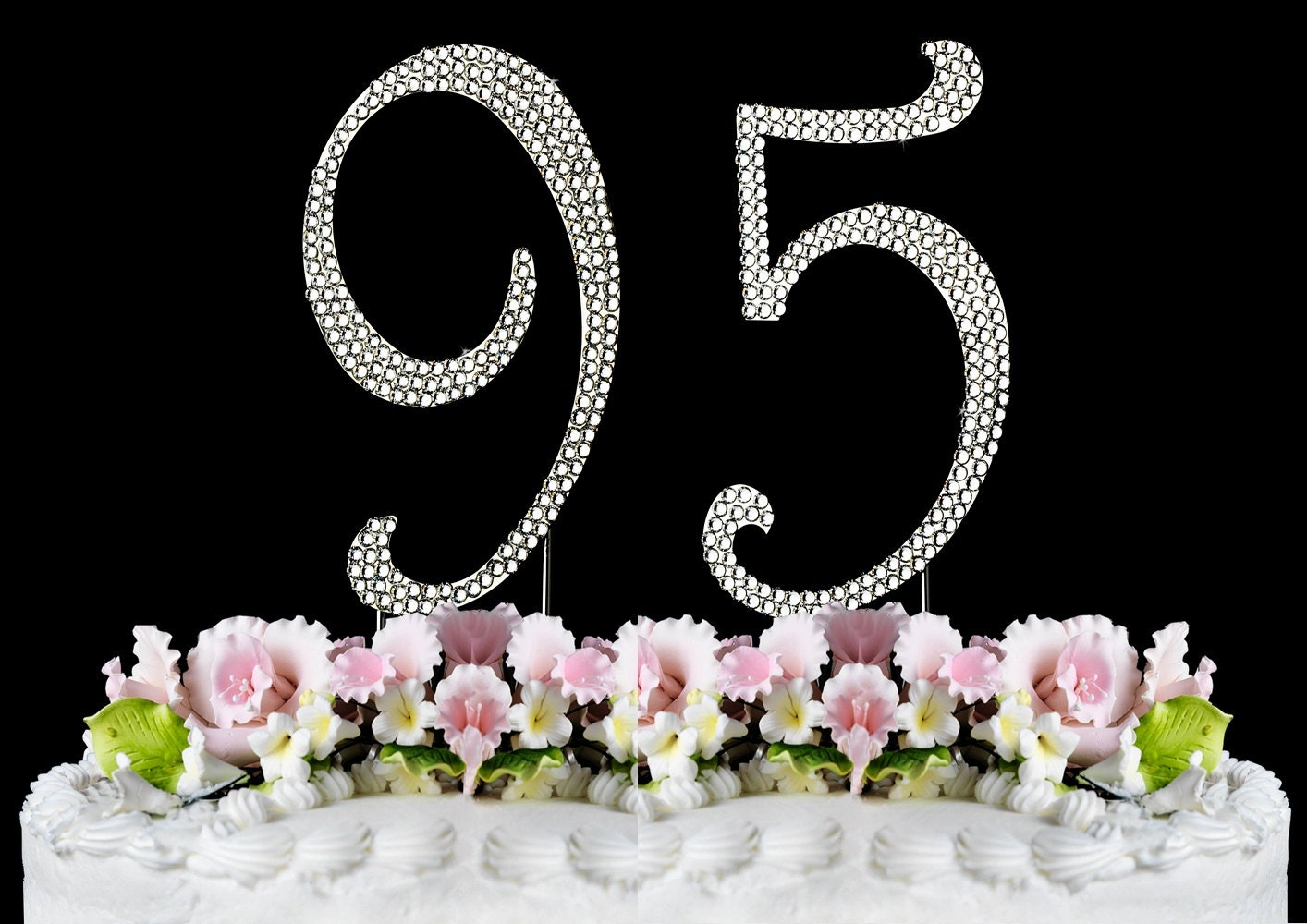 New Large Rhinestone Number 95 Cake Topper 95th Birthday