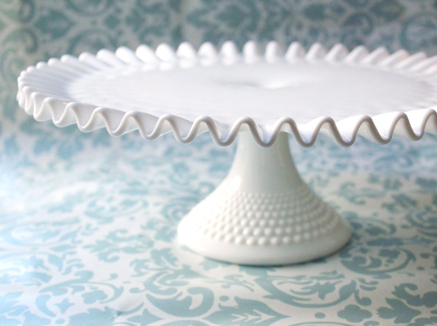 Vintage White Milk Glass Cake Stand