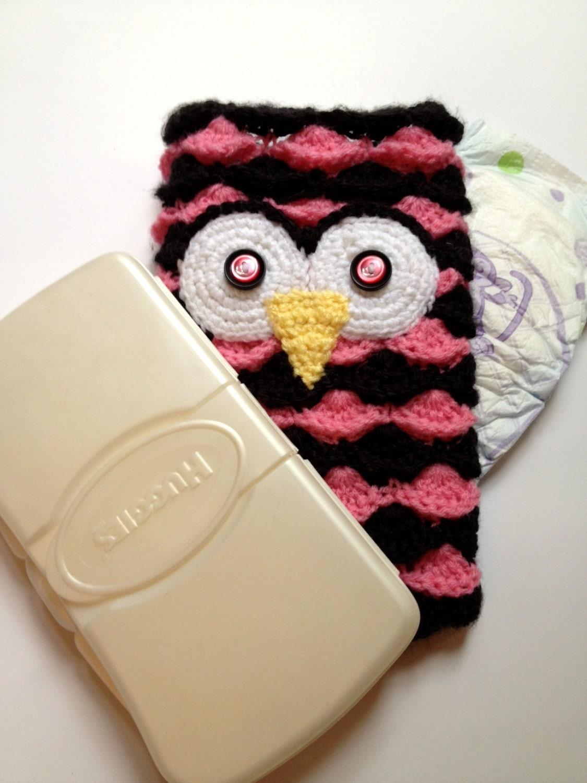 PDF File Crochet Pattern : Owl Diaper & Wipe Clutch / Pouch