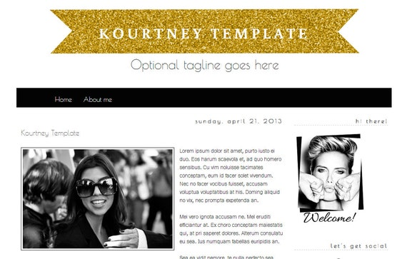 Instant Download-Kourtney Premade Blogger Template-Black and White ...