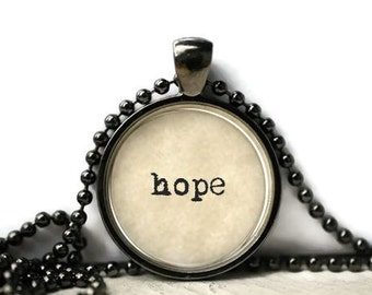 Hope resin necklace or keychain word jewelry