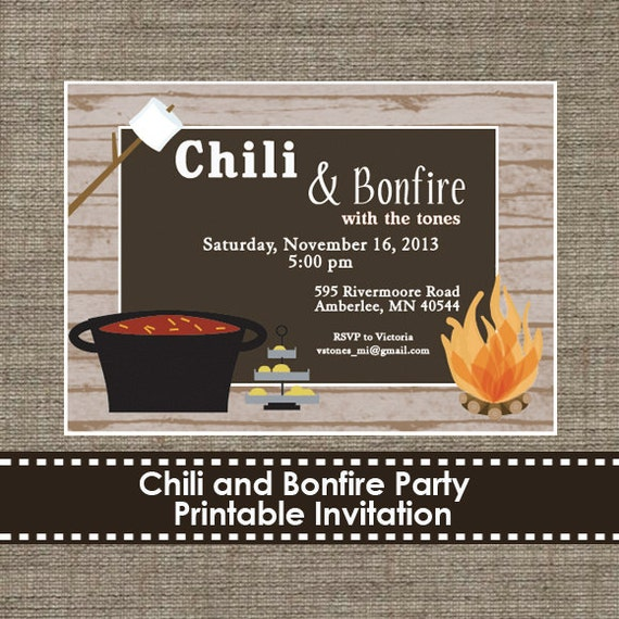 Chili And Bonfire Party Invitation Diy By Sparklingstudio