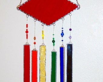 Stained Glass Wind Chimes Ruby Red with Rainbow of Colors and Decorative Glass Beads