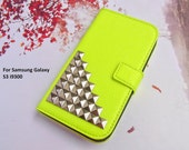 Samsung Galaxy S3 case,Highlighter,Geometric,Credit Card holder Studded Samsung Case,Studs Leather Wallet Phone Case Samsung S3 case Cover - iFashionAccessory