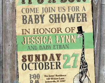 Vintage Inspired Giraffe Shower Invitation - Digital Download
