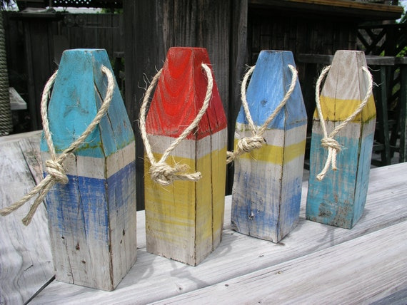 Decorative Buoy Wooden Buoy Stripe Lobster Buoy By JeanosArt