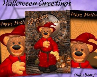 Dinky Bears Wizard Halloween Greetings - Digital Download