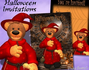 Dinky Bears Halloween Invitations - Digital Download
