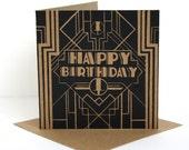 Happy Birthday Card.  The Great Gatsby.  Lino Print Greetings Card.  Birthday Card For Him.