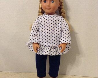 Polka dot top & leggings for 18 inch doll