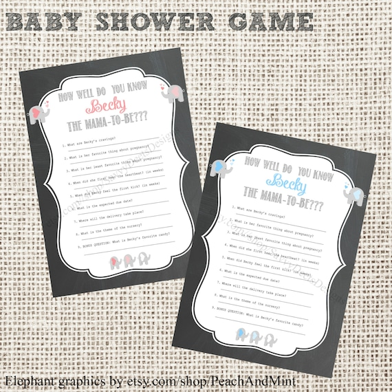 chalkboard baby shower game printable