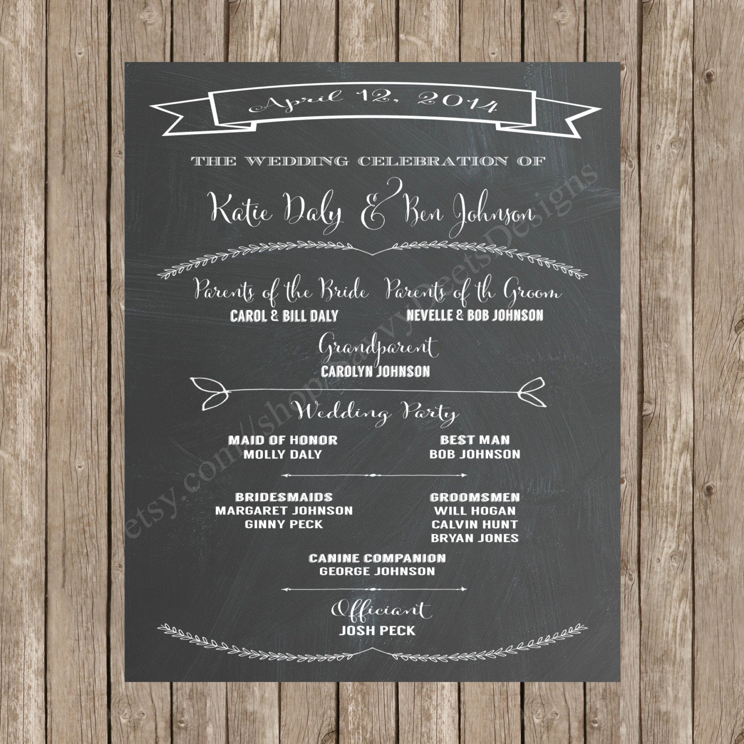 Chalkboard Wedding Program Printable Wedding Program
